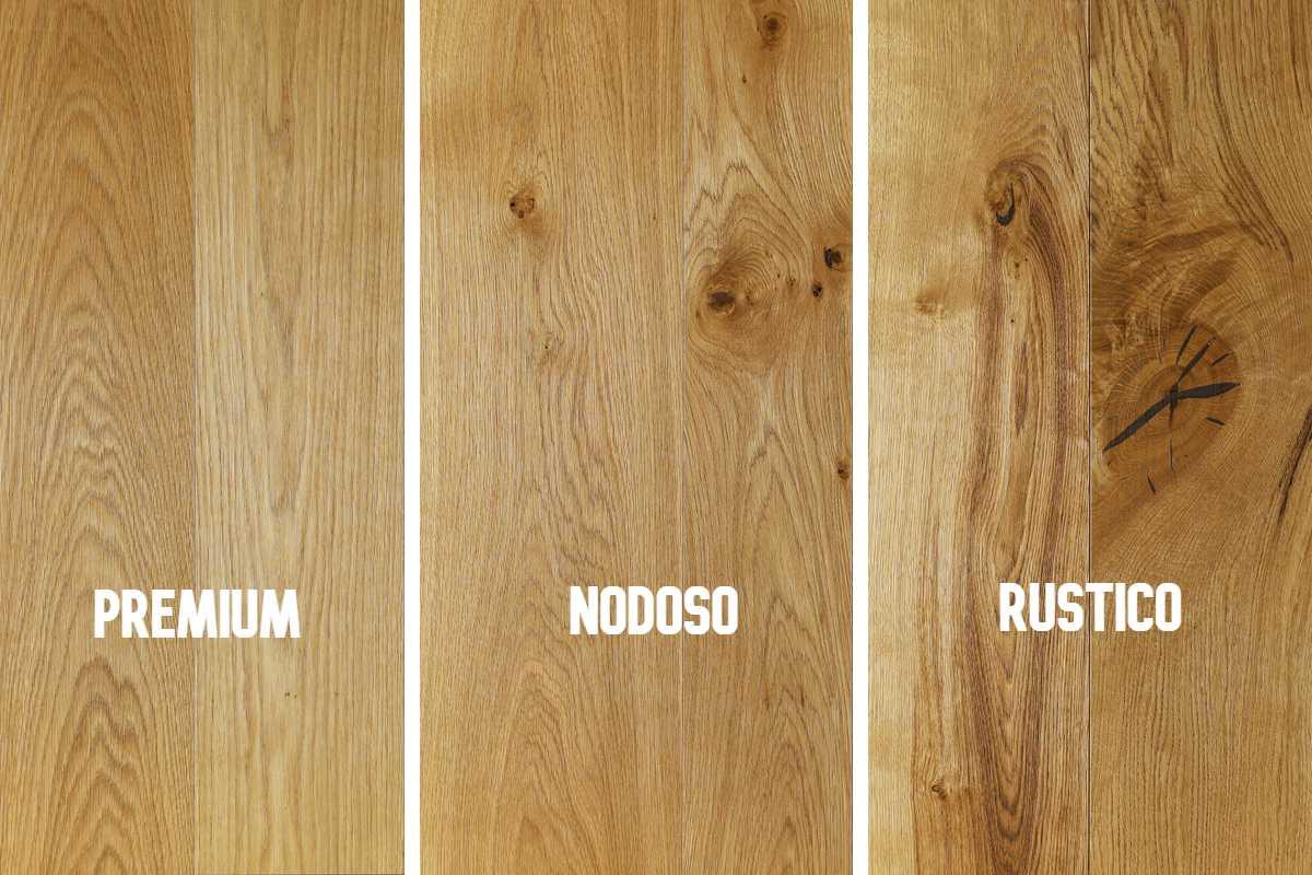 scelte del legno: premium, nodoso o rustico